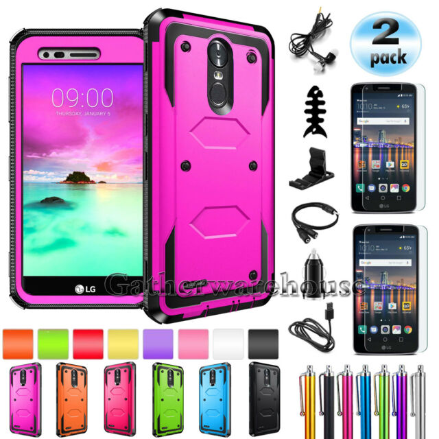 detailing 665d7 24852 For LG Stylo 4/Stylo 3 / Plus Phone Case Cover + Tempered Glass Screen  Protector