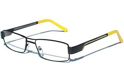 BLACK AND YELLOW METAL FRAME CLEAR LENS GLASSES Retro Polite Sporty Style
