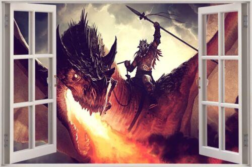 Huge 3D Window view Fairy tale Fantasy Dragon Wall Sticker Film Decal 576