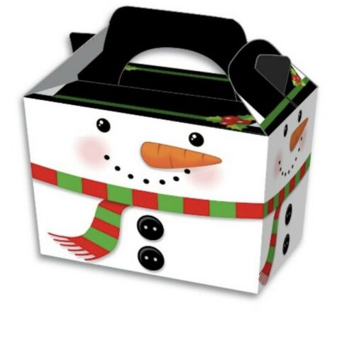 10 SNOWMAN CHRISTMAS PARTY FOOD BOX or 12 SNOWMAN PAPER FOOD BAGS~FREE PP UK