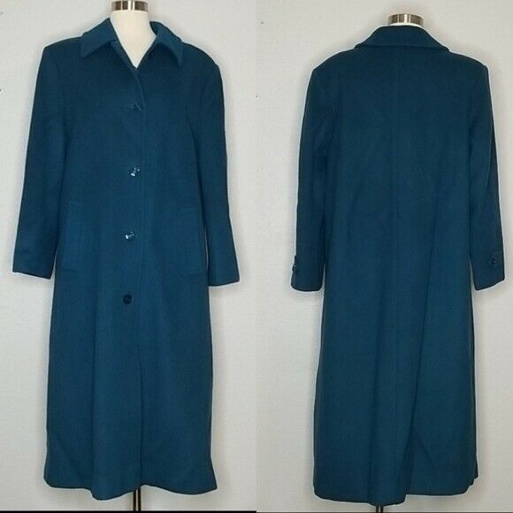 Pendleton Vintage Wool Teal Blue Green Trench Coat Woman's 14
