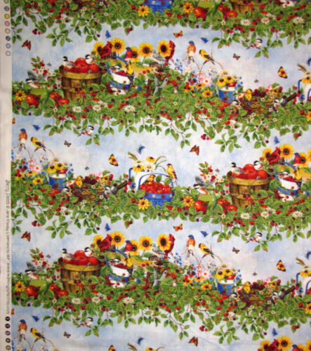 Berry Patch Stripe Wilmington Prints Bird Garden Flower Scene Cotton Fabric YARD