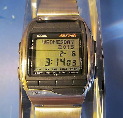 Ultimate Rare Casio HBX-100 PC Unite Data Bank Computer Watch Water Resistant SS