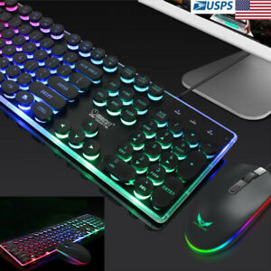 Colorful-Punk-LED-Illuminated-Backlit-USB-Wired-PC-Rainbow-Gaming-Keyboard-Set