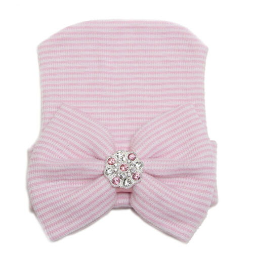Details about  /Toddler Infant Baby Girl Striped Cute Cap Hospital Newborn Bowknot Beanie Hat
