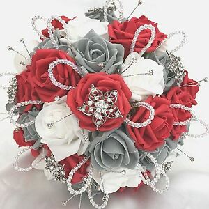 Brides Posy Bouquet Red White Grey Roses Artificial Wedding