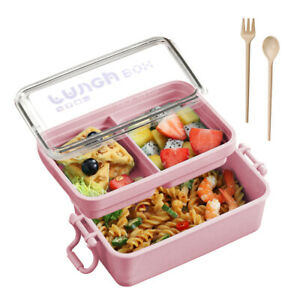 Microwave-Lunch-Bento-Box-Portable-2-Layers-Food-Container-Storage-W-Spoon-Fork