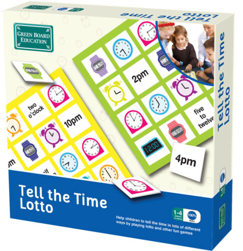 Green Board Educational Maths Tell The Time Lotto Game