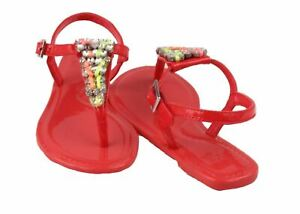 Surf-Girls-Youth-Pink-Glow-Leather-Thong-T-Strap-Sandals-sz-3