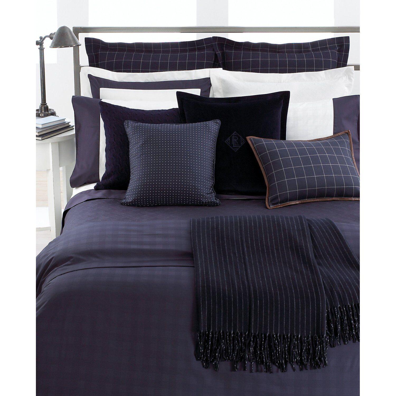 Ralph Lauren Suite Windowpane Navy blueee Wool Euro   European Shams (Set of 2)