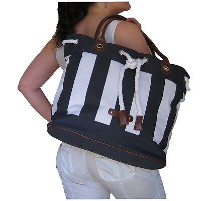 BEACH BAG Navy Blue Stripes, Handbag Tote Large Big White Rope Holiday Gym Hobby