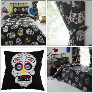 Sugar-Skulls-Reversible-Tattoo-Duvet-Quilt-Cover-Set-Bedding-Range-Black-Multi