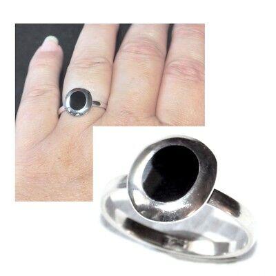 Aspirante Bague En Argent Massif 925 émail Noir Motif Ovale T 56 Bijou Ring