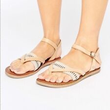 Metallic Leather Sandals in Rose Gold
