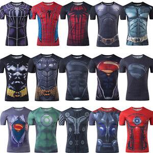Hombre-compresion-superheroe-Camiseta-de-Superdry-de-Manga-corta-Casual-Top-Tee
