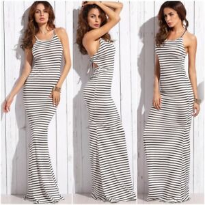 57f9612fadb Sexy Long Summer Dresses Women Striped Casual Ladies Spaghetti Strap ...