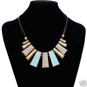 New-Fashion-Design-Beads-Enamel-Bib-Leather-Braided-Rope-Crystal-Chain-Necklace