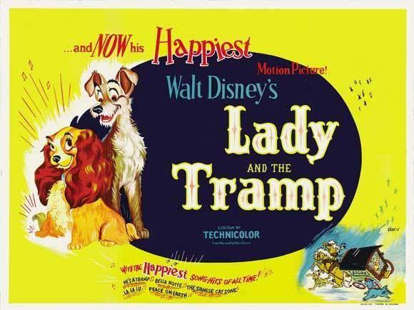Lady And The Tramp Movie Poster 30x40 Larry Roberts Peggy Lee Barbara Luddy Stan For Sale Online