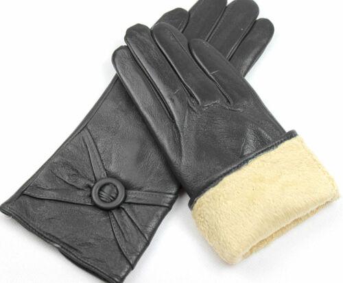 Damen Lederhandschuhe Fleece Gefüttert Gr 6,5 7 7,5 8 8,5 //Po,