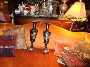 :huge Pair Of Chased Metal Vases; Pakistan C.1960 Black And Silver Floral-wow