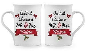 3aa1e627539 Pair of Personalised 'Our First Christmas As Mr & Mrs' Fine Bone ...