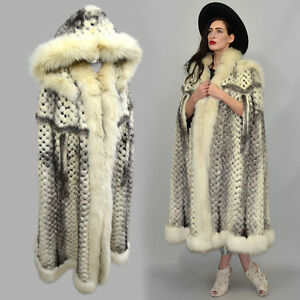 Vintage-Leather-Mosaic-Black-Cross-Mink-amp-Arctic-Fox-Fur-Cape-Hooded-Maxi-Poncho