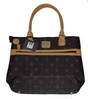 Liz Claiborne Dark Brown Roman Signature Tote Laptop Travel Bag Msrp $200