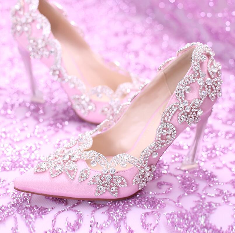 Rosa Princess Pumps Damen Hochzeit Schuhe Blumen Strass High Heels Spitz Zehe