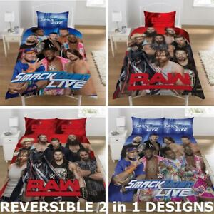 OFFICIAL REVERSIBLE WWE SINGLE DUVET/QUILT COVER BED SET WRESTLING STARS LEGENDS