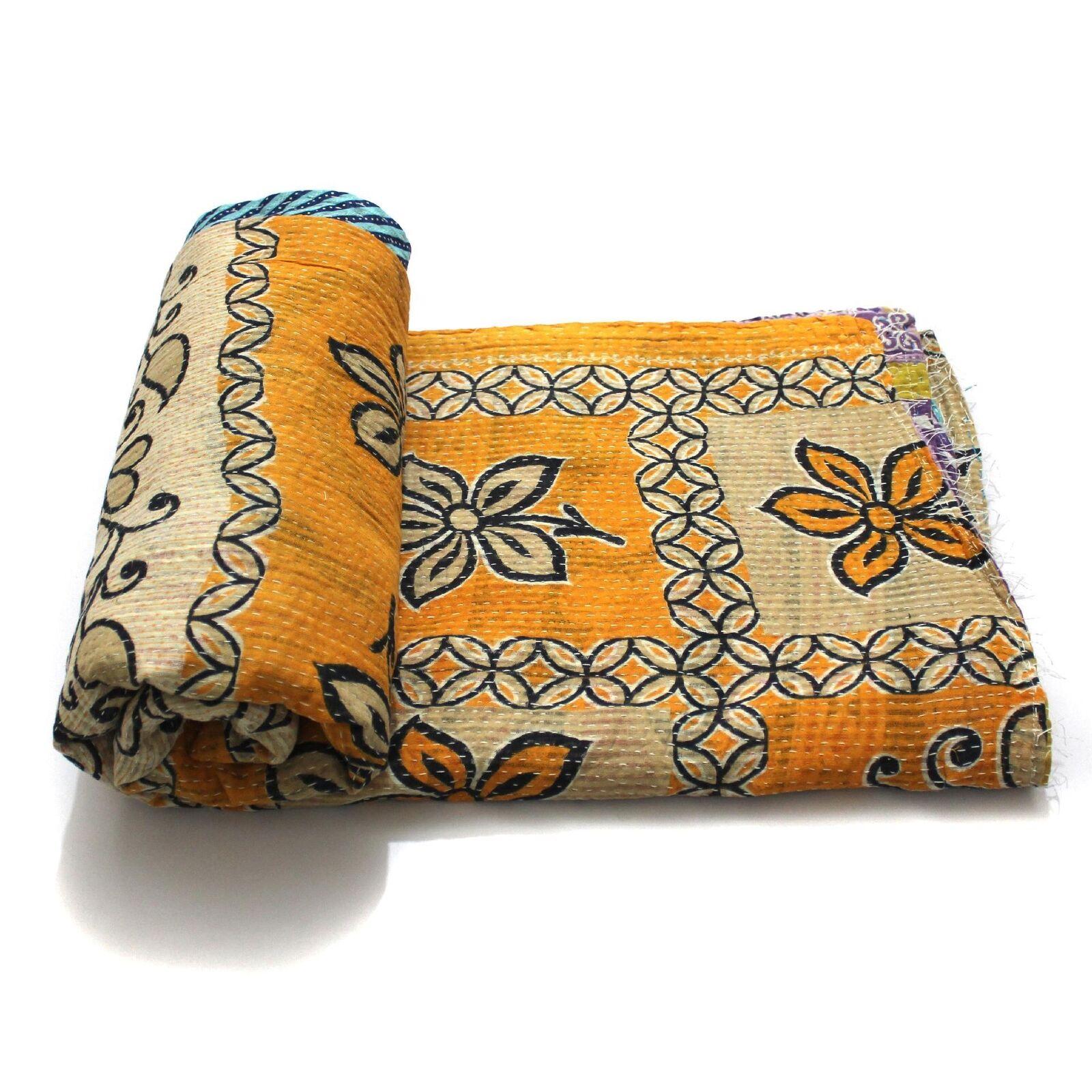 Vintage Kantha Quilt Indian Handmade Cotton Bedspread Saree Throw Bedding Cover