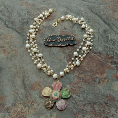 24/'/' 4 Rows White Pearl Necklace CZ Pave Flower Pendant