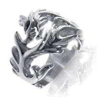 Large Chinese Zodiac Fire Dragon Stainless Steel Silver Ring Band - 316l