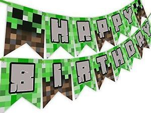 Minecraft Pixel Party Supplies Decorations Happy Birthday Banner