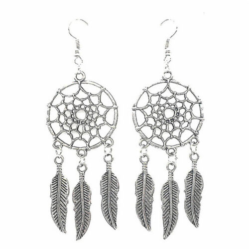Women New Fashion Jewelry Vintage Silver Plated Dream Catcher Drop Earring YJ