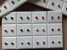 JOBLOT-12 pairs of 0.5cm mix colours diamonte stud earrings.