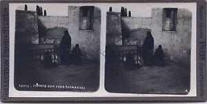 Industrieux Egypte Femmes Sur Leur Terrasses Stereo Vintage Argentique