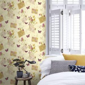 Sophie-Conran-Cartes-Postales-Maison-Papier-Peint-Papillons-Creme-950902-Rosa