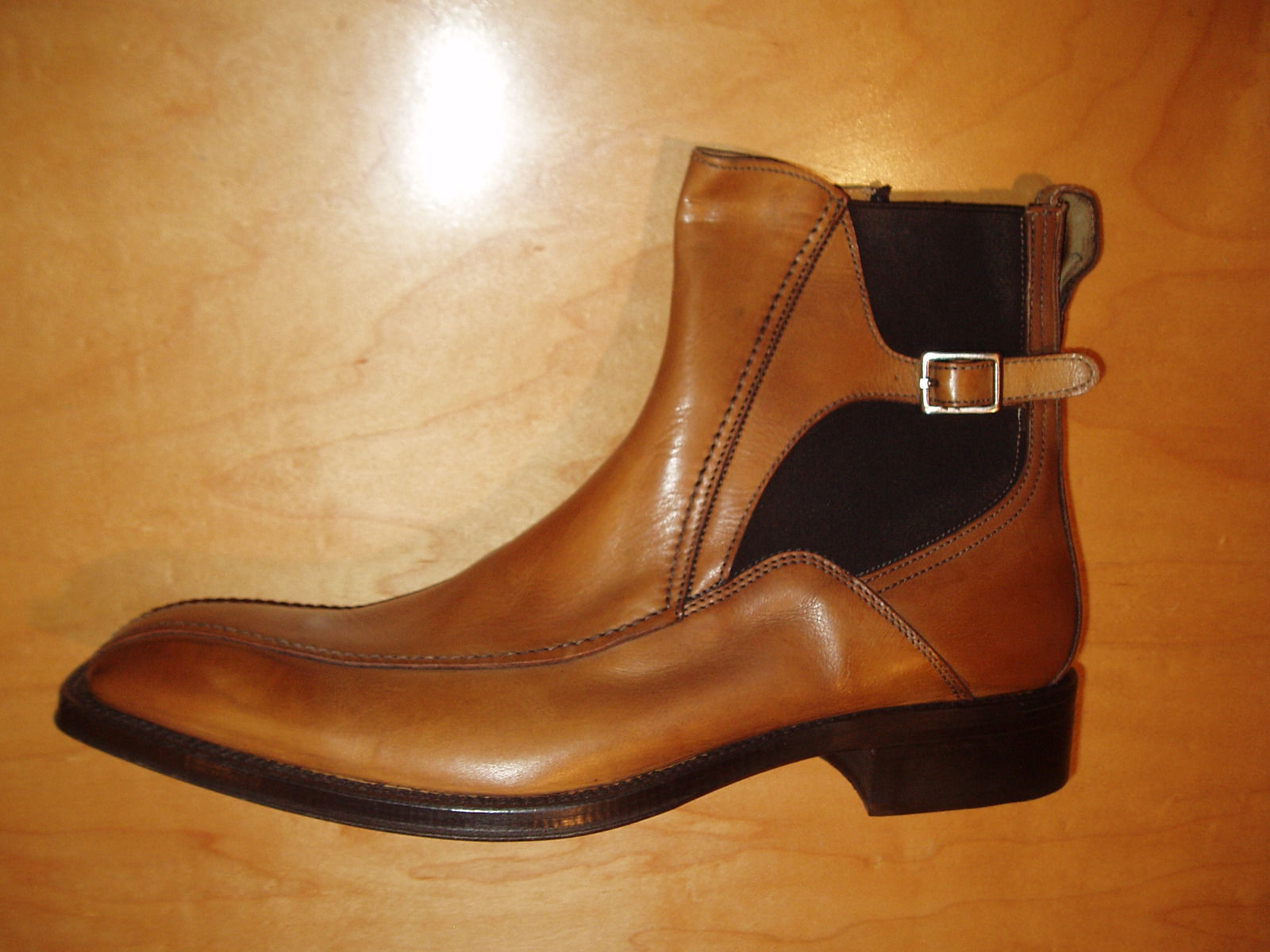 MEN HANDMADE BROWN TAN LEATHER CHELSEA BOOTS WITH SIDE BUCKLES FOR MEN
