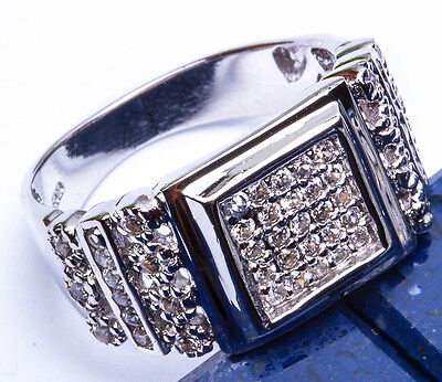 MEN'S BLING! Russian CZ  .925 Sterling Silver Ring Sizes 8-12