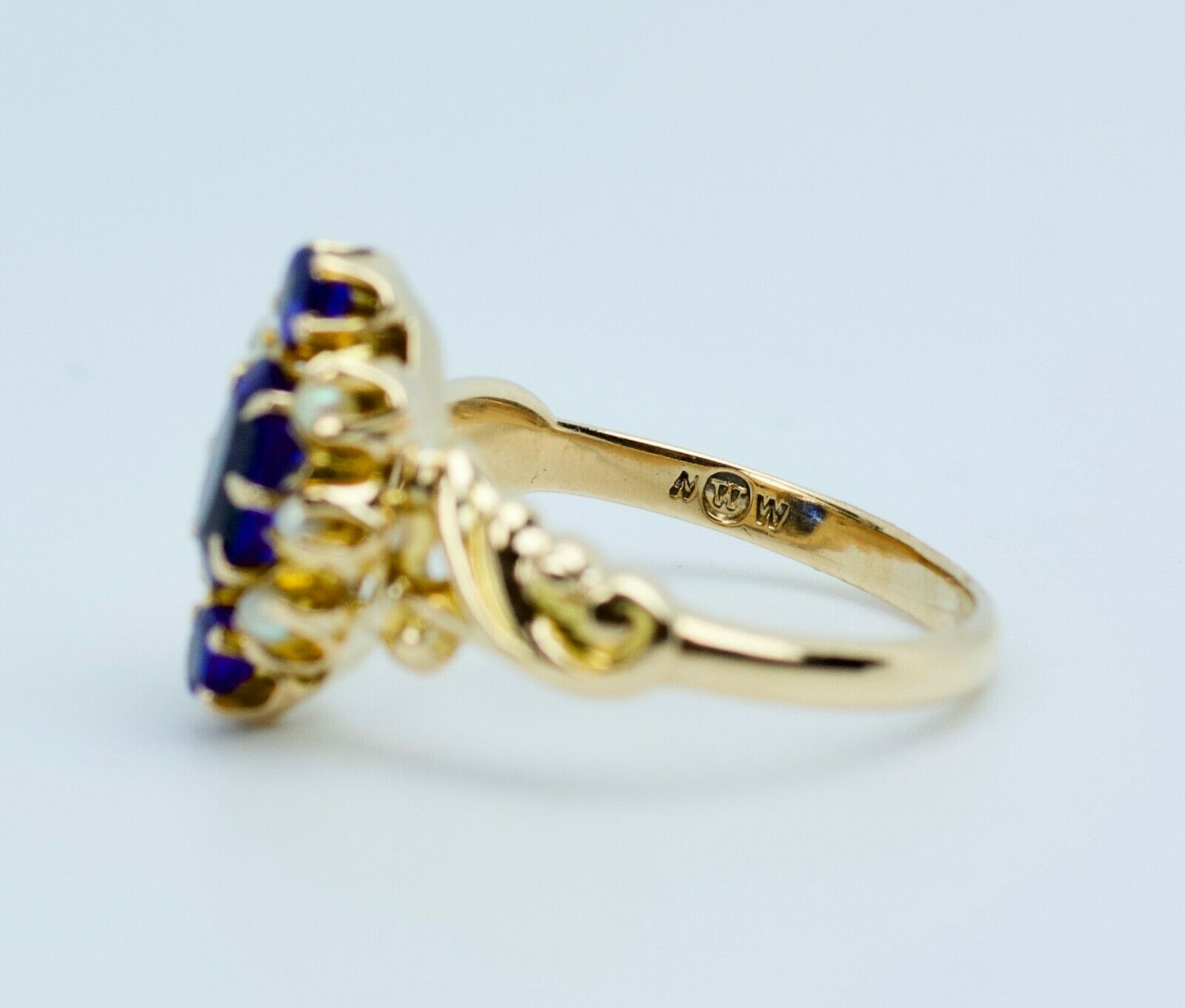 Vintage 14k Yellow Gold Oval Blue Synthetic Sapph… - image 8