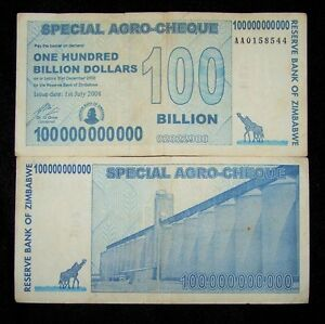 Details About 5 X Zimbabwe 100 Billion Dollar Agro Cheque Banknotes