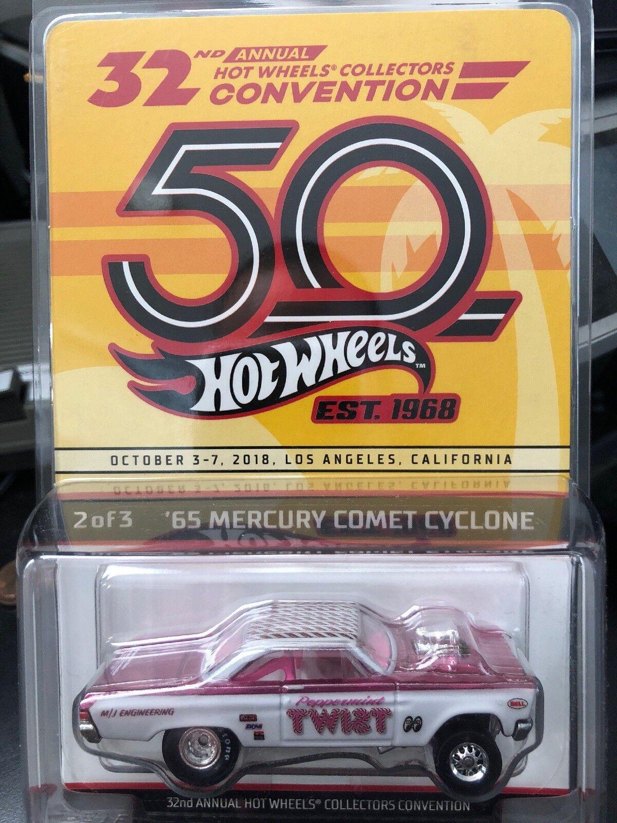 2018 Hot Wheels Convención 65 65 65 Mercurio Cometa Ciclón Menta Torsión Rosa 43d52a