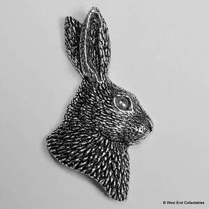 Rabbits-Head-Pewter-Pin-Brooch-British-Hand-Crafted-Bunny-Lapin-Hare-Rabbit
