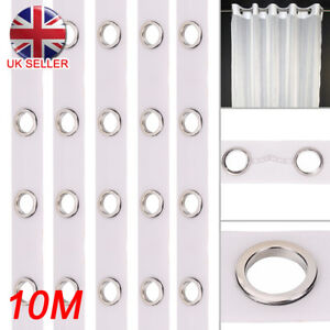 10M-Eyelet-Curtain-Tape-80-Rings-Accessories-Sewing-Silver-Curtains-Blinds-New