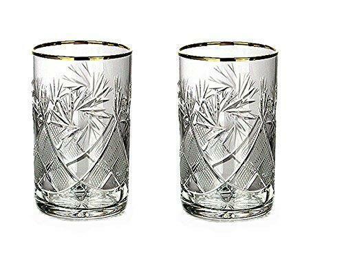 Set of 2 Vintage Russian Crystal Tea Glasses For Metal Holder Podstakannik