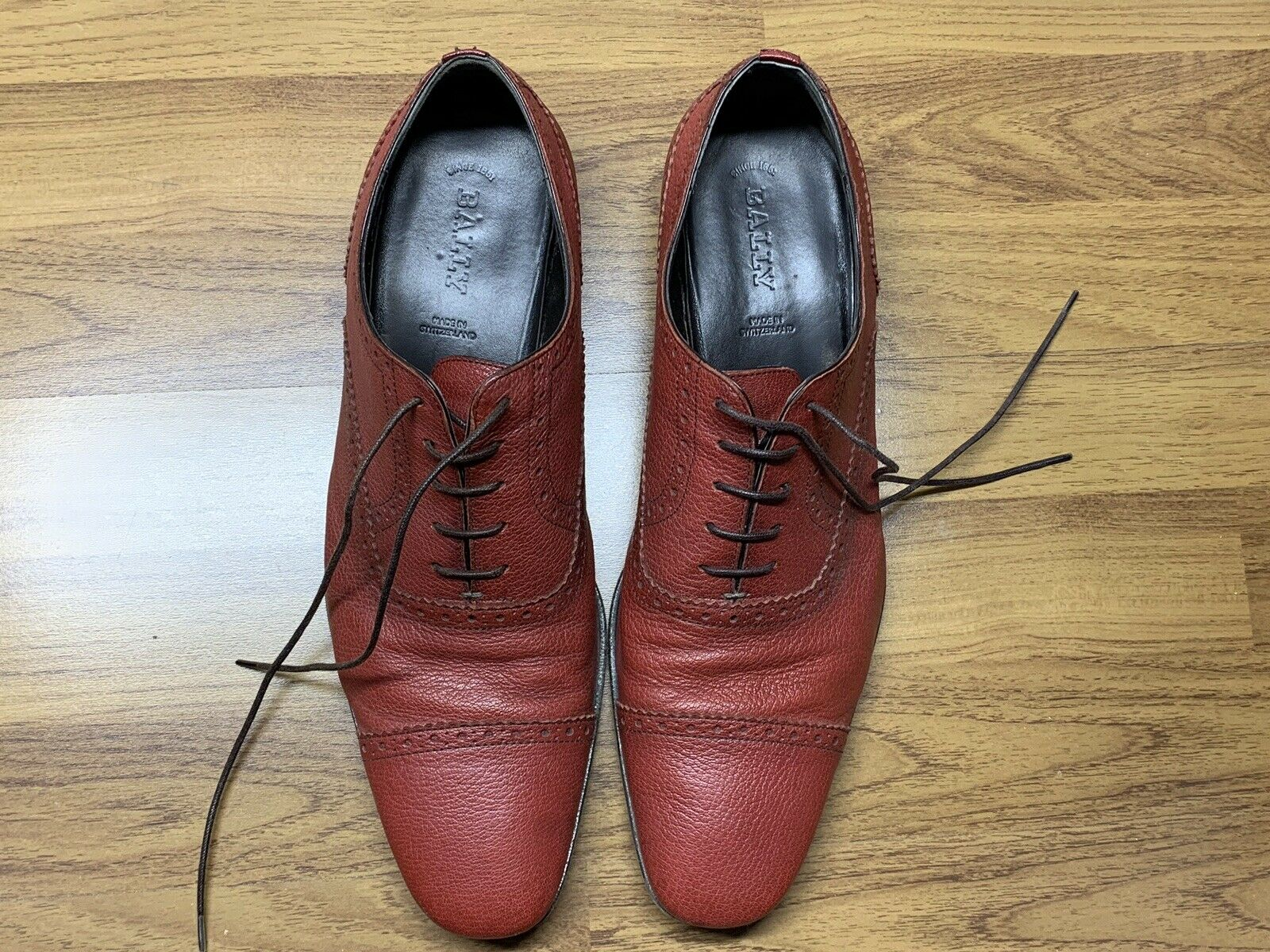 Red bally mens shoes size 11 made in switzerland very rare high quality