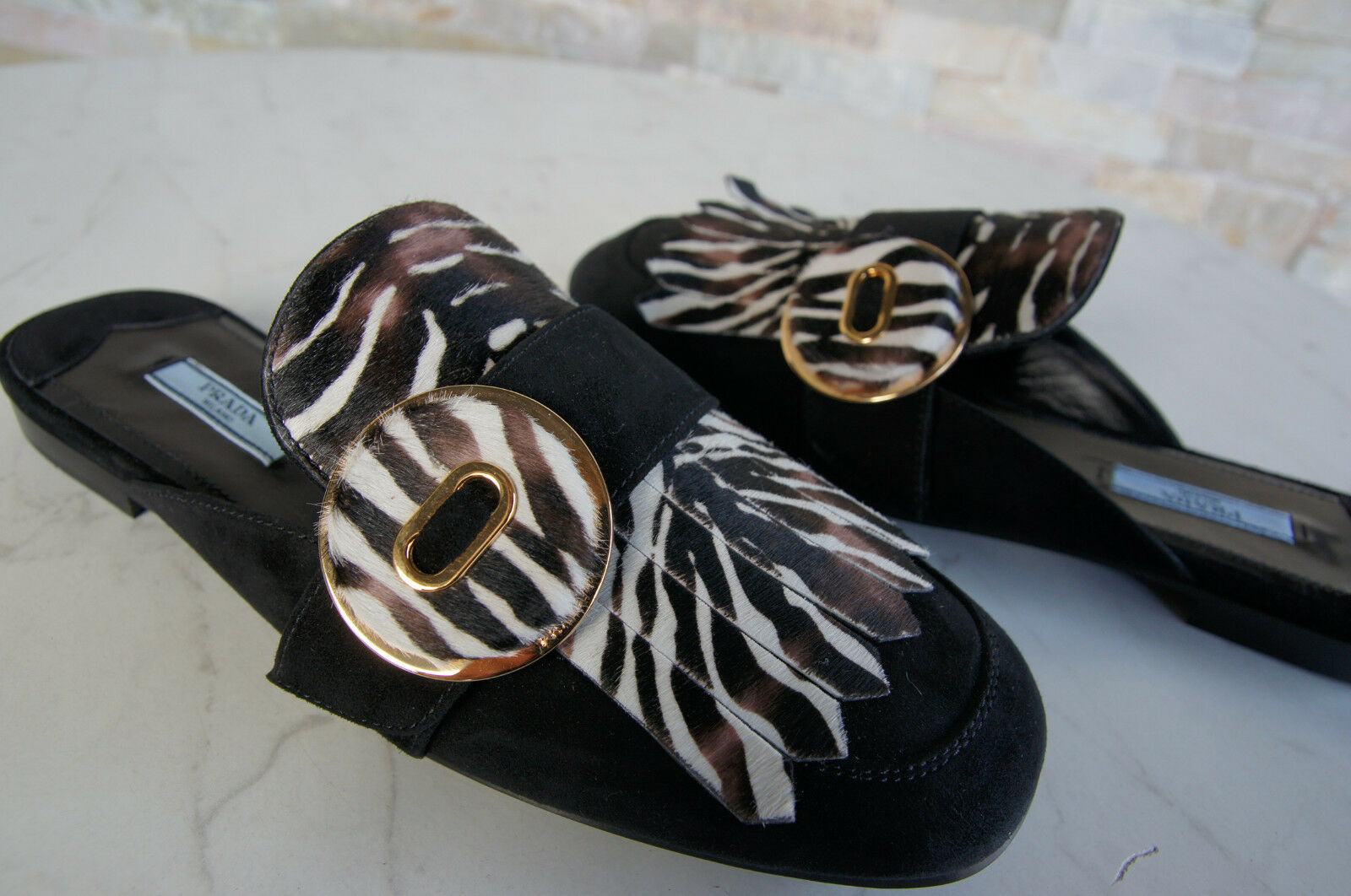 Prada Sz. 40 Slippers Sabots Mules 1D729H shoes shoes shoes Zebra Black New Formerly Rrp 683ff3