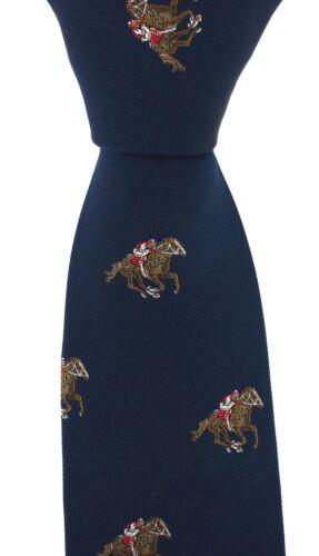 Soprano Ascot Blau Luxus Gewebt Seide Krawatte mit Jockey On Race Pferd