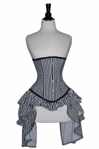 Nero BIANCO con corsetto in Satin sotto il busto reale di acciaio ossa Lacci Anteriore Busk 2XS ~ 7XL