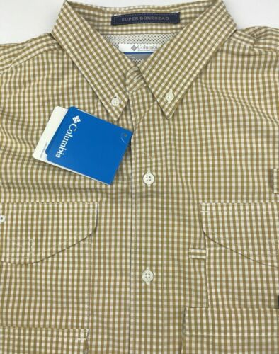 Columbia PFG Mens Large Super Bonehead Tan Plaid Long Sleeve Fishing Shirt